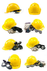 Collection of Helmet, gloves, ear defenders and goggles on white
