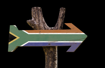 South Africa wooden sign isolated on black background