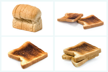 pieces of Burnt Toast on white background