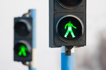 Two green lights for pedestrians