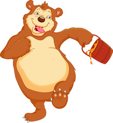 funny  bear cartoon  with honey