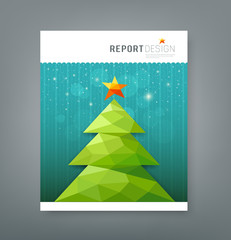 Cover report, Christmas tree geometry design background