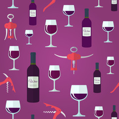 red wine flat design seamless pattern