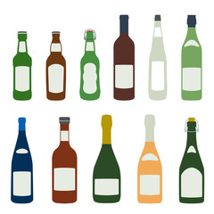flat design solid colors alcohol bottles icons set