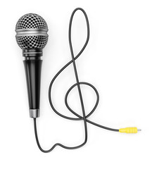Microphone with treble clef shaped cable