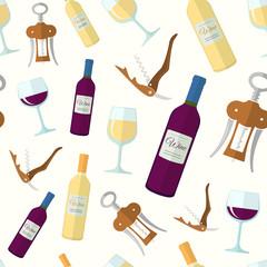 white red wine flat design seamless pattern