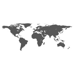 vector dark grey on white world map
