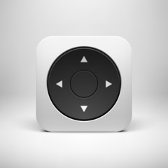 White Abstract Joystick  App Icon Button Template