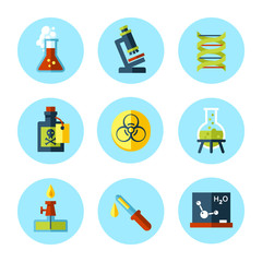Vector chemistry icon set in modern flat style.
