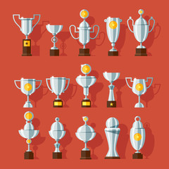 Vector icons set of bronze sport award cups.