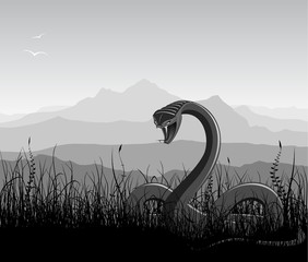 Landscape with angry snake, grass and mountains.
