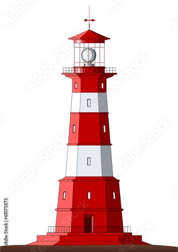 Detailed Lighthouse - isolated on white - 68175875