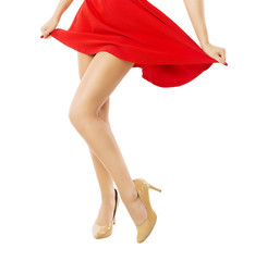 Legs woman dancing close up. Isolated white background.