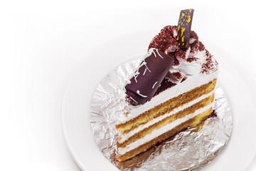 Tiramisu Cake In White Background