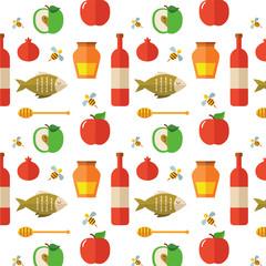Seamless pattern for Jewish New Year Holiday Rosh Hashahah