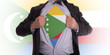 Businessman with The Comoros flag t-shirt