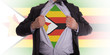 Businessman with Zimbabwe flag t-shirt