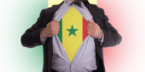 Businessman with Senegal flag t-shirt