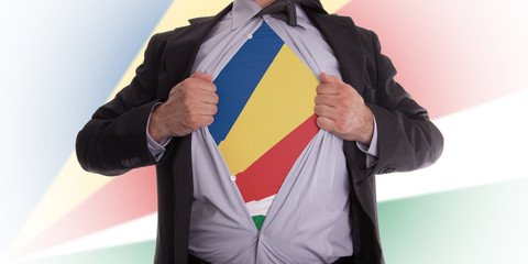 Businessman with Seychelles flag t-shirt