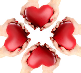 Red hearts in hands, isolated on white