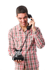 young man speaking on phone
