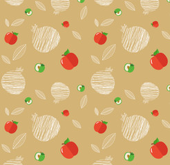 illustration of Rosh Hashanah background with pomegranates and