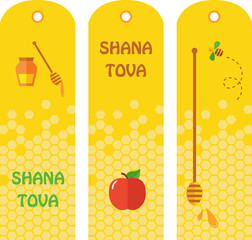 Set of honey labels, badges and design elements for Rosh Hashana