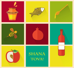 "Set of icons for Jewish holiday Rosh Hashana.  ""Happy New Year"