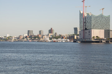 Harbor Hamburg with the Elbe Philharmonic Hall