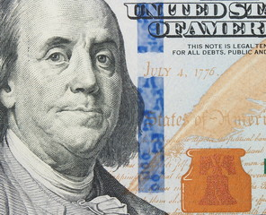 Benjamin Franklin from new one hundred dollars bill
