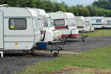 Row of Old-fashioned caravans on a camping site