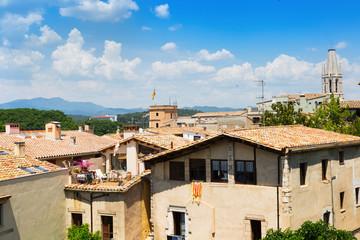 Top  view of old european city. Girona