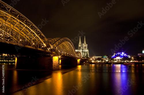 canvas print picture Hohenzollernbrücke und Kölner Dom
