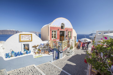 street and painted shop on Santorini