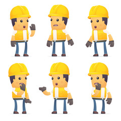 set of contractor character in different poses