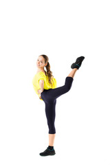 sporty girl doing stretching exercises