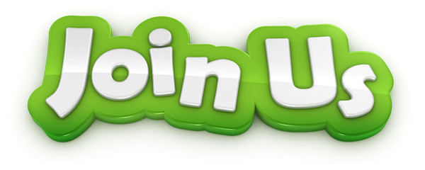 join us text banner on white background