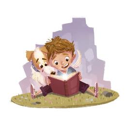 niño leyendo con su perro