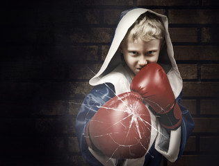 Young boxer fighter breaking the glass