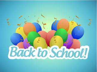 back to school and balloons illustration design
