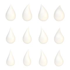 Set of twelve liquid drops isolated
