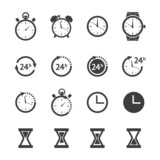 Black clock icons set