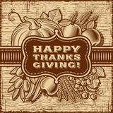 Fototapety Happy Thanksgiving Retro Card Brown
