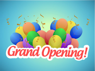 grand opening sign and balloons illustration
