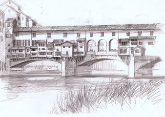 Ponte Vecchio, historical bridge in Florence, Italy