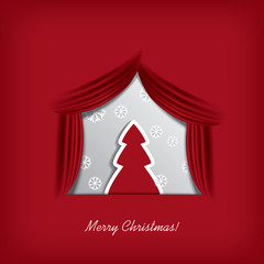 Christmas card vector design with Christmas tree on a stage