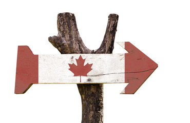 Canada wooden sign isolated on white background