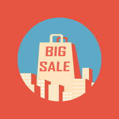 Big sale vintage poster with shopping bag between buildings