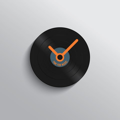 Vinyl record clock icon in trendy vintage style