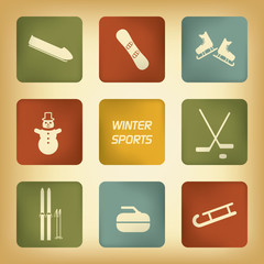 Winter sports icons set in various vintage colors